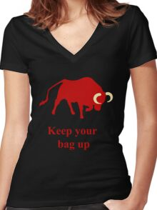 Keep your bag up red Women's Fitted V-Neck T-Shirt