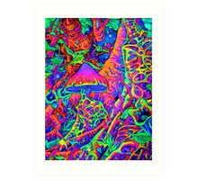 BLACKLIGHT NEON MOTHER NATURE SHROOM GARDEN Art Print