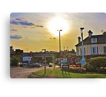 Sunset Over Commercial Square Canvas Print