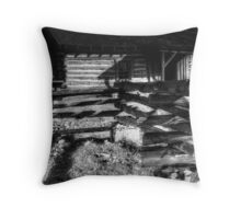 Settlers Cabin BW Throw Pillow
