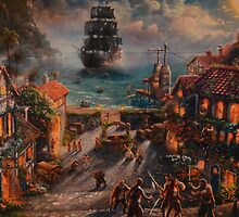 Pirates Of The Caribbean Skull And Crossbones Pirate Ship by notheothereye