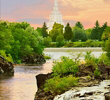 Idaho Falls Temple Morning Waterfall 20x24 by Ken Fortie