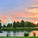 Idaho Falls Temple Sunrise Reflection 20x30 by Ken Fortie