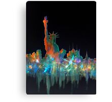 Liberty And New York Skyline Canvas Print