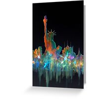 Liberty And New York Skyline Greeting Card