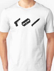 Guns! Razors! Knives! (Black) T-Shirt