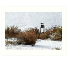 Vintage Hunting House in Winter Art Print