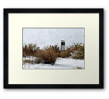 Vintage Hunting House in Winter Framed Print