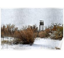 Vintage Hunting House in Winter Poster