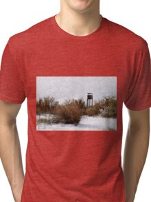Vintage Hunting House in Winter Tri-blend T-Shirt