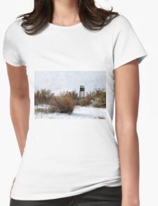 Vintage Hunting House in Winter Womens Fitted T-Shirt