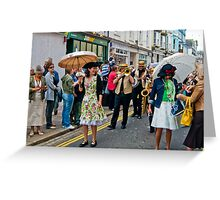 Jazzz Band Lady with Brolly Greeting Card
