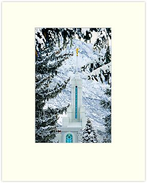 Mt. Timpanogos Temple Between the Evergreens 20x30 by Ken Fortie