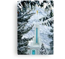Mt. Timpanogos Temple Between the Evergreens 20x30 Canvas Print