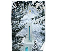 Mt. Timpanogos Temple Between the Evergreens 20x30 Poster
