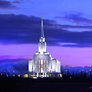Oquirrh Mountain Temple After Sunset 20x24 by Ken Fortie