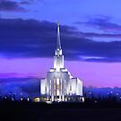 Oquirrh Mountain Temple After Sunset 20x30 by Ken Fortie