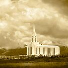 Oquirrh Mountain Temple Big Sky Sepia 20x24 by Ken Fortie