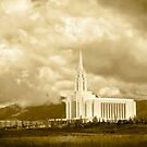 Oquirrh Mountain Temple Big Sky Sepia 20x30 by Ken Fortie