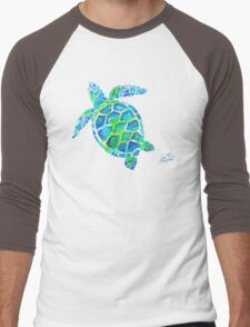 Sea Turtle no splots by Jan Marvin Men's Baseball ¾ T-Shirt