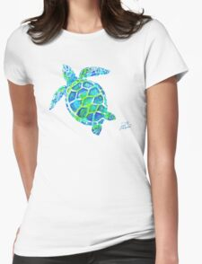 Sea Turtle no splots by Jan Marvin Womens Fitted T-Shirt