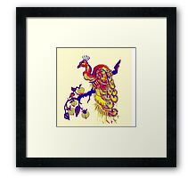 Peacock in a Peach Tree (Remix) Framed Print