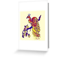 Peacock in a Peach Tree (Remix) Greeting Card