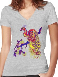 Peacock in a Peach Tree (Remix) Women's Fitted V-Neck T-Shirt