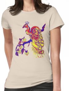 Peacock in a Peach Tree (Remix) Womens Fitted T-Shirt