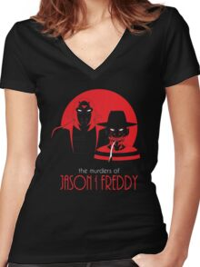 The Murders of Jason and Freddy Women's Fitted V-Neck T-Shirt