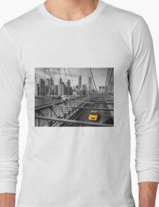 Cab on Brooklyn Bridge Long Sleeve T-Shirt