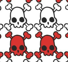 Skully: white & red Sticker