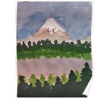 Mount Shasta and lake, watercolor Poster