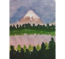 Mount Shasta and lake, watercolor Photographic Print