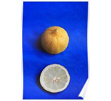 Lemon on Blue Poster