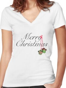 Christmas Mitts Women's Fitted V-Neck T-Shirt