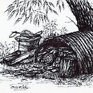 Wood Pile Sketch by Margaret Stockdale