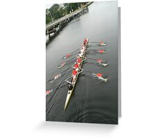 rowers on channel Greeting Card