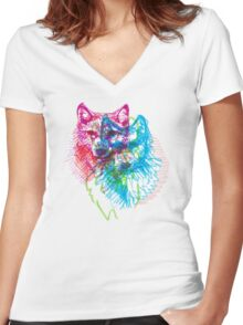 howl 3d Women's Fitted V-Neck T-Shirt