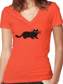 Black Cat(s) Women's Fitted V-Neck T-Shirt