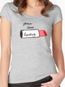 Peace, Love, Lipstick Women's Fitted Scoop T-Shirt
