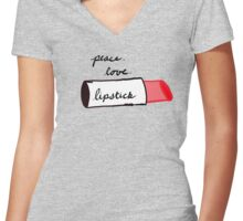 Peace, Love, Lipstick Women's Fitted V-Neck T-Shirt