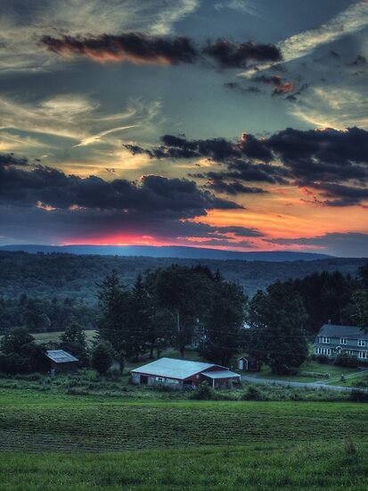 Sunset Over Daweland Farms by Aaron Campbell