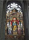 Stained glass window, St Nicholas's Church, Ghent, Belgium by Margaret  Hyde