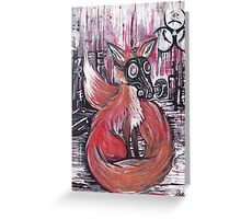 Fox  in gas mask Greeting Card