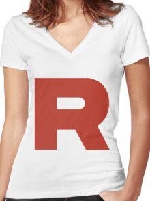 R Team Rocket Pokemon Women's Fitted V-Neck T-Shirt