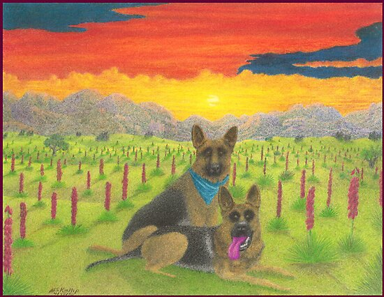 German Shepherds At Sunset by Michael McKellip