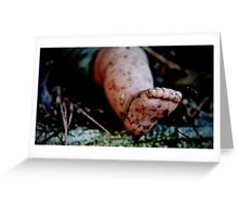 one foot on the ground Greeting Card