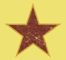 Vintage look Red and Gold Star Baby Tee
