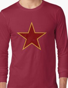 Vintage look Red and Gold Star Long Sleeve T-Shirt